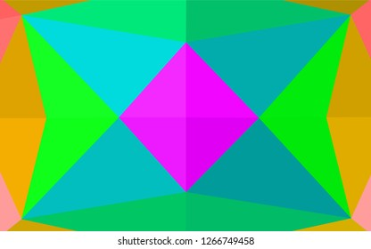 Light Multicolor, Rainbow vector polygonal background. Geometric illustration in Origami style with gradient.  The textured pattern can be used for background.