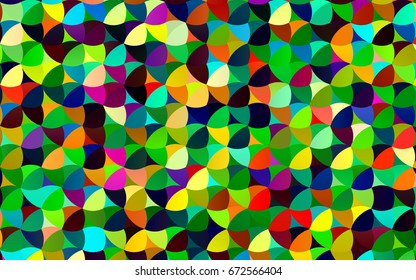 Light Multicolor, Rainbow vector red banner with set of circles, dots. Donuts Background. Creative Design Template. Technological halftone illustration.