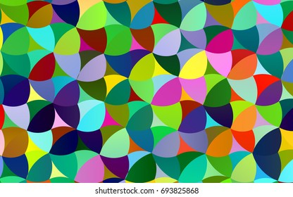 Light Multicolor, Rainbow vector red pattern of geometric circles, shapes. Colorful mosaic banner. Geometric background with colored disks.