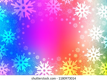 Light Multicolor, Rainbow vector template with ice snowflakes. Shining colored illustration with snow in christmas style. New year design for your ad, poster, banner.