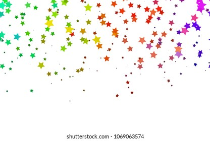 Light Multicolor, Rainbow vector texture with beautiful stars. Glitter abstract illustration with colored stars. The pattern can be used for websites.