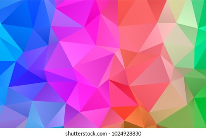 Light Multicolor, Rainbow vector triangle mosaic background. Geometric illustration in Origami style with gradient.  A new texture for your design.