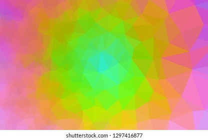 Light Multicolor, Rainbow vector triangle mosaic texture. Colorful illustration in Origami style with gradient. Textured pattern for background.