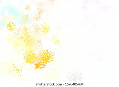 Light Multicolor vector abstract pattern with leaves. Shining colored illustration with leaves and branches. Hand painted design for web, leaflets.
