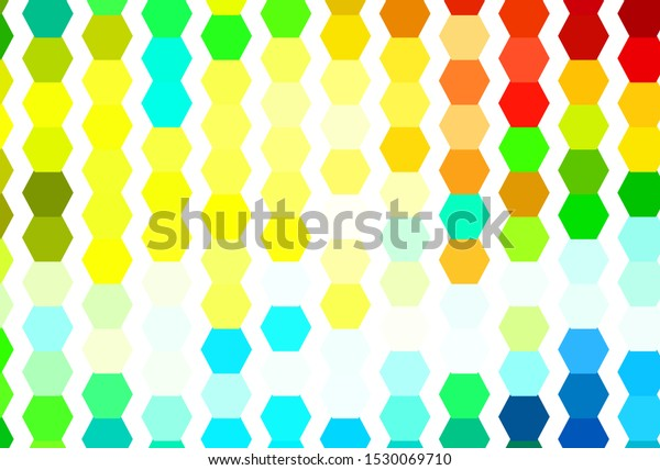 Light Multicolor vector backdrop with hexagons. Illustration of colored hexagons on blur surface. Design for website posters, banners.
