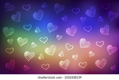 Light Multicolor vector pattern with colorful hearts. Beautiful colored illustration with hearts in celebration style. Design for ad, poster, banner of Valentine Day.