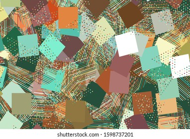 Light Multicolor vector texture with poly style with circles, cubes. Decorative design in abstract style with lines, dots, cubes. Template for wallpapers.