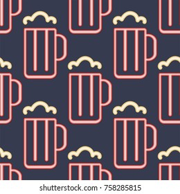 Light neon beer cups seamless pattern background vector illustration font decorative symbols night bright objects.