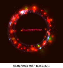 light neon red circle for your design, text or presentation