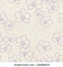 Light neutral background pattern texture with orchid flowers