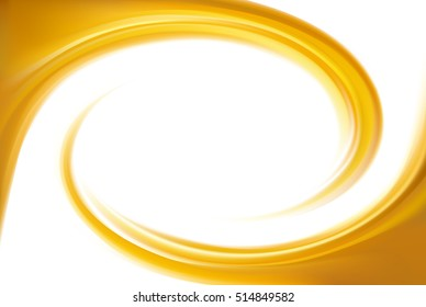 Light ocher whirl backdrop with space for text in white center. Curl fluid surface bright hot amber color. Circle eddy mix of sweet apricot, lemon dessert syrup caramel