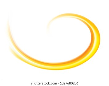 Light ocher whirl ripple backdrop with space for text. Curl fluid surface bright hot amber color. Circle mix of pure sweet carrot, apricot, lemon dessert syrup as eddy caram