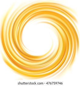Light ocher whirl ripple backdrop with space for text. Curl fluid surface bright hot amber color. Circle mix of pure sweet carrot, apricot, lemon dessert syrup as eddy caramel