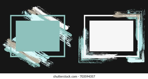 Light on black art frame set vector collection. Grunge border with painted brushstrokes background collection. Painted frames advertising graphic design templates for banner, flyer, poster, card.