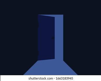 Light from the open door. Blue color. Door is open inward. Vector illustration