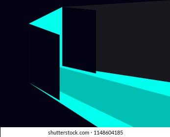 Light from the open door. Blue lights. Vector illustration