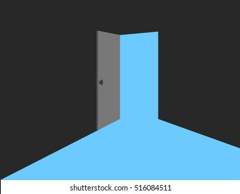 Light from the open door. Blue lights, vector illustration.