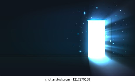 Light from the open door of a dark room, abstract mystical glowing exit, discovery, background, open door template, mock up
