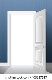 The light from the open white door in a blue room