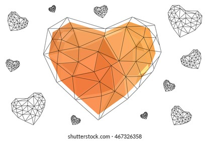 Light orange heart isolated on white background. Geometric rumpled triangular low poly origami style gradient graphic illustration. Vector polygonal design for your business.