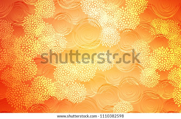 Light Orange vector abstract doodle wallpaper. An elegant bright illustration with flowers in Natural style. Hand painted design for web, leaflet, textile.