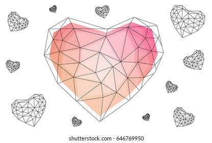 Light Orange vector abstract Triangle Geometrical Heart on white polygonal background. Happy Valentine's Day Greeting Card. Stock template for your design.