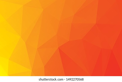 Light Orange vector blurry triangle template. Polygon abstract pattern. Colorful illustration in abstract style with gradient in a vague style. The best triangular design for your business.
