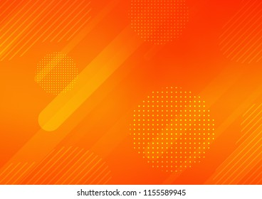 Light Orange vector cover with rounded stripes, dots. Glitter abstract illustration with colored sticks, dots. Best design for your ad, poster, banner.