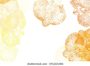 Light Orange vector natural pattern with flowers. Creative illustration in blurred style with flowers. Colorful pattern for kid's books.