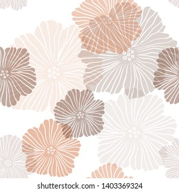 Light Orange vector seamless abstract design with flowers. Decorative design of flowers on white background. Design for textile, fabric, wallpapers.