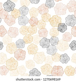 Light Orange vector seamless elegant pattern with flowers. An elegant bright illustration with flowers. Template for business cards, websites.