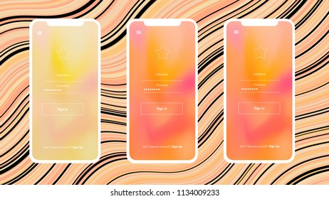 Light Orange vector web ui kit with cellphone. Glitter illustration with shapes of iphone X with gradient Simple colorful design for cellphone.