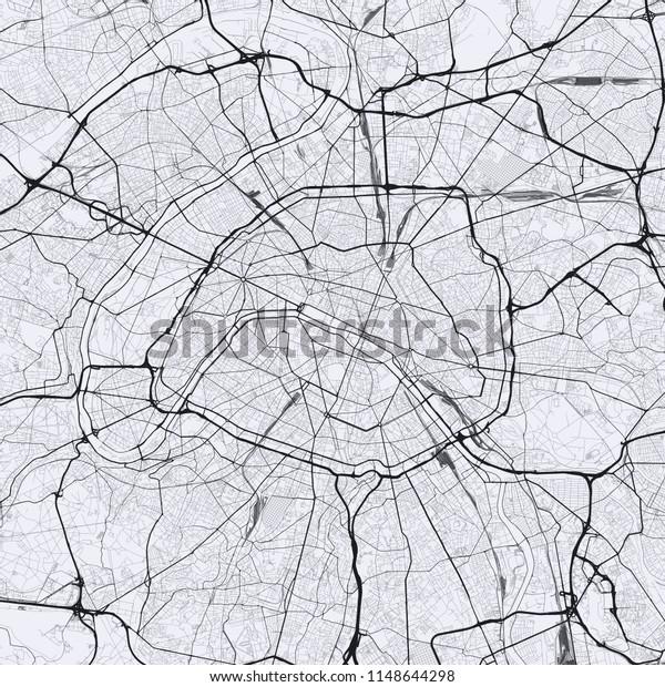 Light Paris City Map Road Map Stock Vector (Royalty Free ...