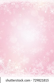 The light pastel pink winter snow holiday paper background