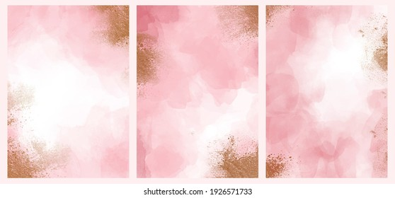 Light pink alcohol ink background collection. abstract hand painted watercolor fluid art painting cover collection