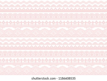 light pink background with lace trims.