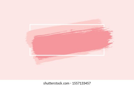 Light pink background with pink paint strokes and box with copy space for text