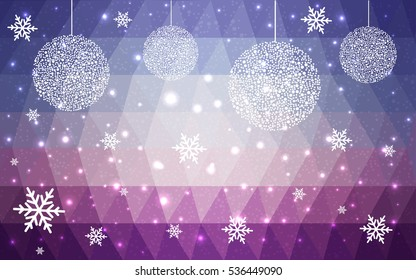 Light Pink Blue christmas postcard low polygon background. Vector illustration consisting of triangles. Abstract triangular polygonal origami or crystal design of New Year celebration.