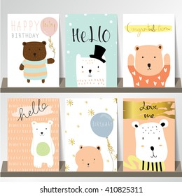 Light pink blue collection for banners, Flyers, Placards with bear and balloon