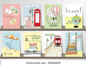 Light pink blue green collection for banners, Flyers, Placards with balloon,world traveling on airplane, planning a summer beach vacation, tourism and journey objects and passenger luggage in london