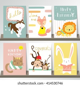 Light pink blue green collection for banners, Flyers, Placards with fox,rabbit,cat,monkey,lion and dog