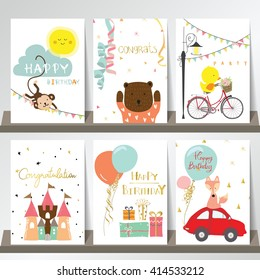 Light pink blue green collection for banners, Flyers, Placards with fox,duck,cat,monkey,car and castle