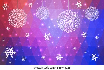 Light pink, blue, purple christmas postcard low polygon background. Vector illustration consisting of triangles. Abstract triangular polygonal origami or crystal design of New Year celebration.