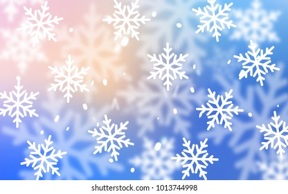 Light Pink, Blue vector background with xmas snowflakes. Blurred decorative design in xmas style with snow. The pattern can be used for new year ad, booklets.