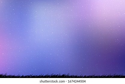 Light Pink, Blue vector background with galaxy stars. Space stars on blurred abstract background with gradient. Pattern for astronomy websites.