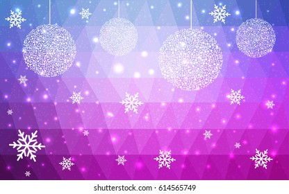 Light Pink Blue vector christmas polygon background. Low poly Illustration consisting of triangles with snowflakes. Texture, seamless background of New Year celebration.