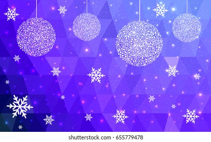 Light Pink Blue vector christmas postcard low polygon background. Illustration consisting of triangles. Abstract triangular polygonal origami or crystal design of New Year celebration.