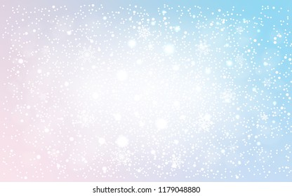 Light Pink, Blue vector cover with beautiful snowflakes. Snow on blurred abstract background with gradient. The template can be used as a new year background.