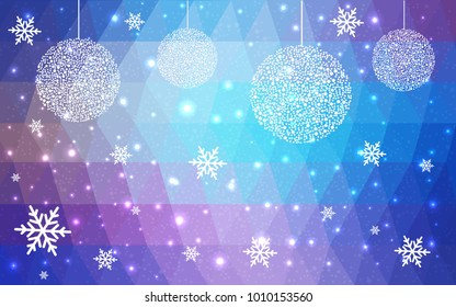 Light Pink Blue vector low poly crystal background with snowflakes. Polygon christmas design pattern . Low poly illustration of New Year celebration.