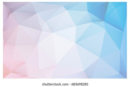 Light Pink, Blue vector Low poly crystal background. Polygon design pattern. Low poly illustration, low polygon background.